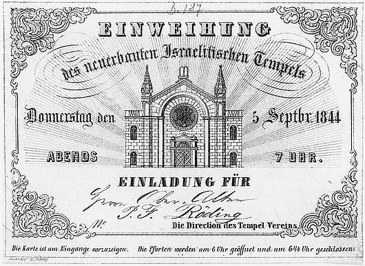 Tempeleinweihung (Einladungskarte) Das Jüdische Hamburg
